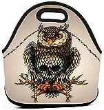 XCNGG Bolsa de almuerzo de neopreno de búho lindo vintage, bolsa de almuerzo térmica aislada reutilizable, bolsa de almuerzo portátil con refrigerador para viajes de oficina de trabajo escolar