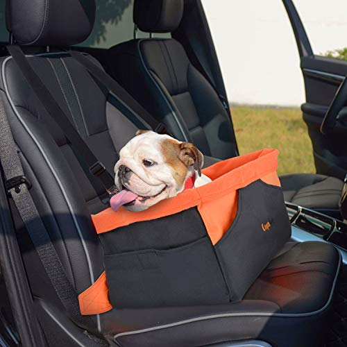 Legendog Dog Car Seat, Waterproof Breathable Pet Dog Cat Car Booster Seat Deluxe Portable Travel Car Carrier Bag for Small Dogs Puppies (Orange)