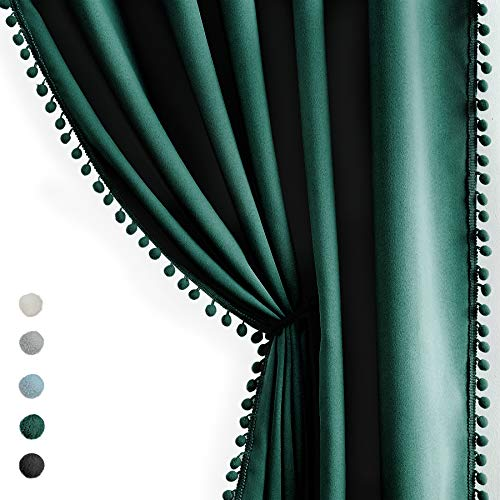 """Green Pompom Curtains for Bedroom Living Room 95 inch Triple Weave Full Blackout Window Drapes for Hotel Men's Guest Room Christmas 50"""" w x2 Panels Rod Pocket"""