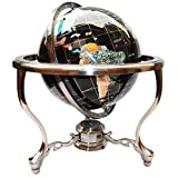 Unique Art Since 1996 14' Black Onyx Gemstone Globe with Silver Stand