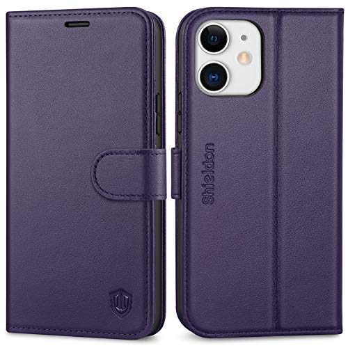 SHIELDON Case for iPhone 12/12 Pro, Genuine Leather Wallet Folio Case with Kickstand RFID Blocking Card Holder Magnetic Closure Protection Case Compatible with iPhone 12/12 Pro 5G 6.1 - Dark Purple