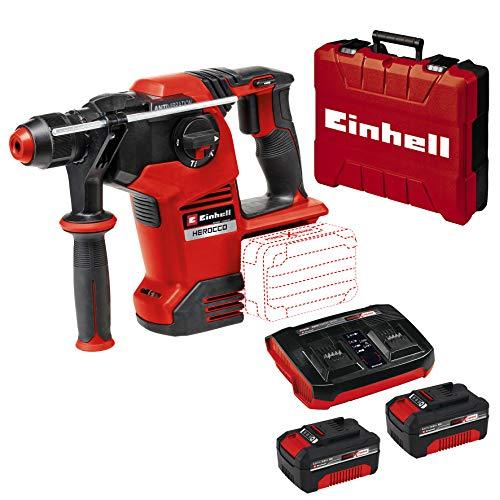Einhell Akku-Bohrhammer Herocco 36/28 Power X-Change (Li-Ion, 2x 18 V, Twin-Pack, 3.2 Joule, 29 Nm, bürstenloser Motor, SDS+ Werkzeugaufnahme, inkl. E-Box, inkl. 2x 3.0 Ah & Twincharger Kit)