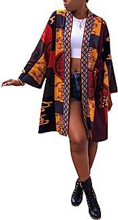 OLUOLIN Women`s Casual African Geometric Patterns Print Long Sleeve Open Front Long Blouse Loose Tops Outwear Jacket Coat