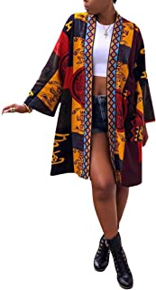 Women's Casual African Geometric Patterns Print Long Sleeve Open Front Long Blouse Loose Tops Outwear Jacket Coat