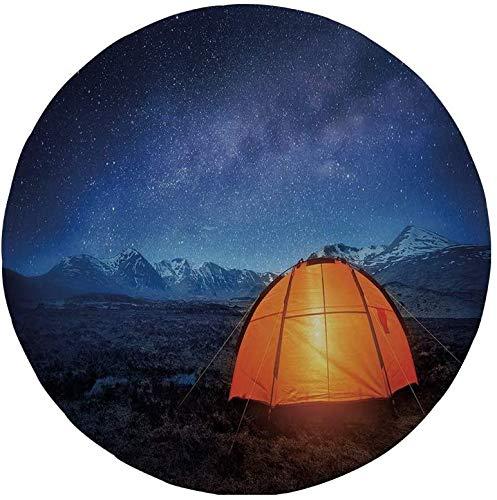 """Rutschfreies Gummi-rundes Mauspad Nacht Campingzelt unter einem Nachthimmel voller Sterne Urlaubsabenteuer im Freien Blau-Orange 7.9\""""x7.9\""""x3MM"""