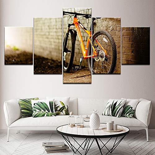 YTDZ GCKJ 5 Panel Canvas Wall Art Orange Mountain Bike 40''Wx22''H Painting Frameless Artwork Modern Posters and Prints for Living Room Bedroom Office Home Decor