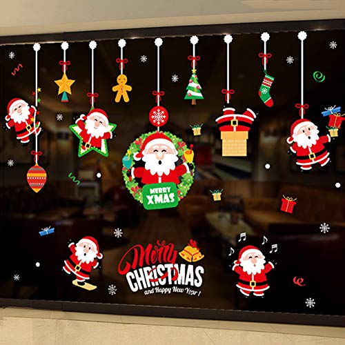 SQZPL Finestre di Vetro di Natale Adesivi PVC Decorazione Decorazione Rimovibile,2020 Nuova Vacanza Buon Natale Shop for Window-e Grande