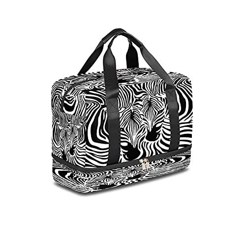 BOLOL Bolsa de viaje con estampado de cebra animal, bolsa de deporte para gimnasio, dos rayas de cebra, bolsa de semanario para hombres y mujeres
