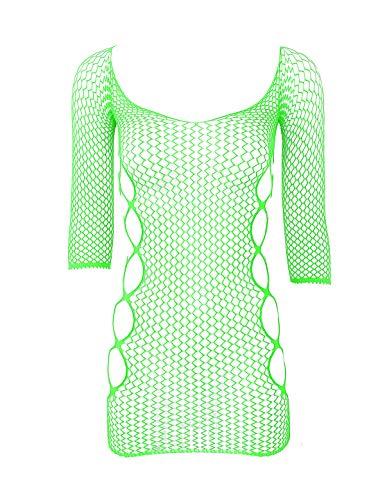 TiaoBug Damen Netz Babydoll Transparent Negligee Dessous Fischnetz Strumpfhose Kleid mit Cutouts Erotische Nachtwäsche Hellgrün One Size