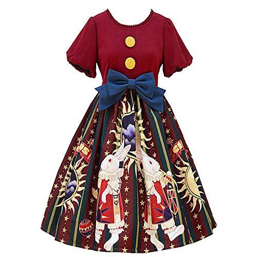Loli Miss Women's Sweet Lolita Dress Circus Rabbit Print Princess Halloween Cosplay Costume L Wine Red