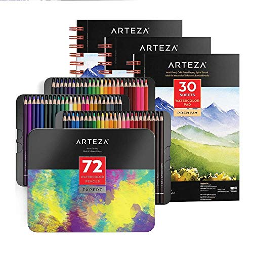 Arteza Watercolor Pad Pack and Professional Watercolor Pencils Bundle for Watercolor Techniques