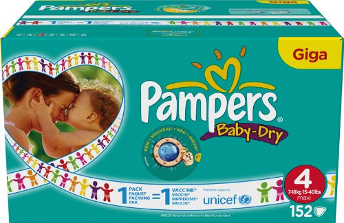 Pampers Baby Dry, 4 - Pañal, talla 4, 144 unidades