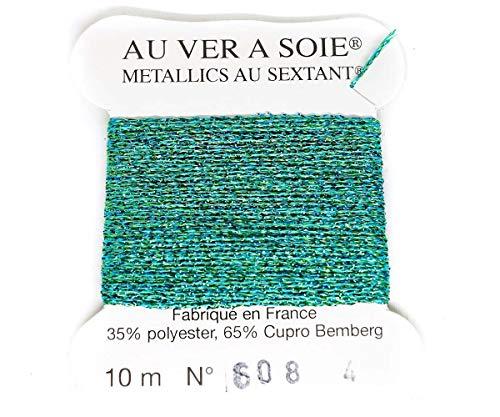1 Bobina Turchese Verde Blu 608 Metallics Tresse 4 Au Ver A Soie Seta Francese Ricamo Metallico Intrecciato Filo Di Luneville Tambour Uncinetto