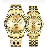 Couple Watches Dress Wrist Watch Golden Watch Men Women Stainless Steel Waterproof Quartz Watch (8201 Gold)