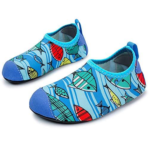 L-RUN Chicas/Niños Zapatos Ligeros de Agua Zapatos Descalzos Suaves Pescado 2.5-3 = EU18-19