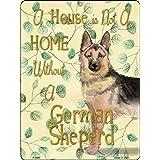 犬がいます 英語のサインボード 看板 A House is Not a Home Without. 犬種多数 米国製 (レギュラー (30.5cm x 23cm), ジャーマンシェパード)
