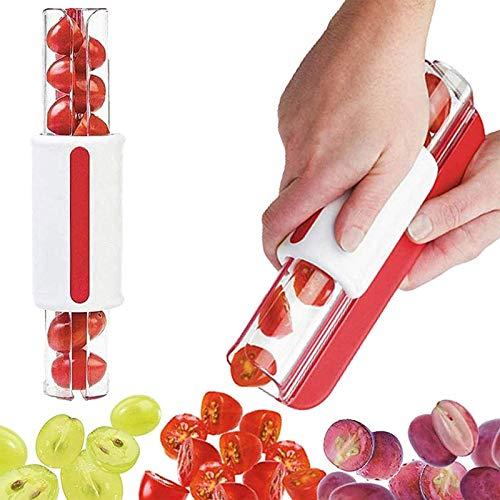 ZURITI Cherry Tomato Cutter, Portable Stainless Steel Slice Zip Style Fruit Slicer, Kitchen Grape Slicer, Grape Peeler, Fruit Vegetable Salad Cutter, Labor-Saving Kitchen Cooking Gadgets Red