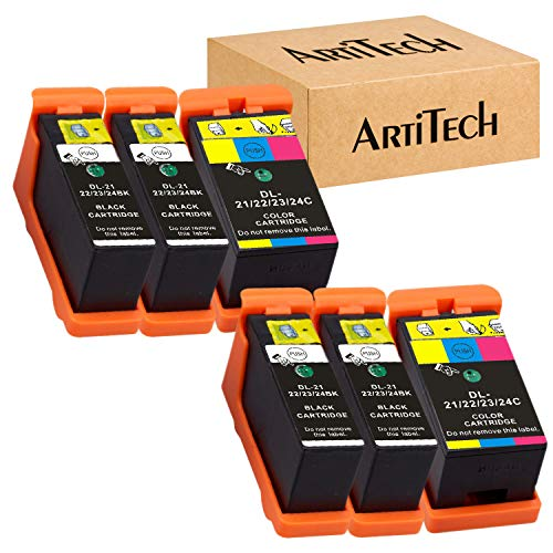 Replace for Dell Series 21 Ink Cartridges Compatible for Dell V515w, V715w, P513w, P713w, V313, V313w, P713w, All-In-One printers 6 Pack, (4 Black and 2 Color) for Dell Series 21, Series 22, Series 23