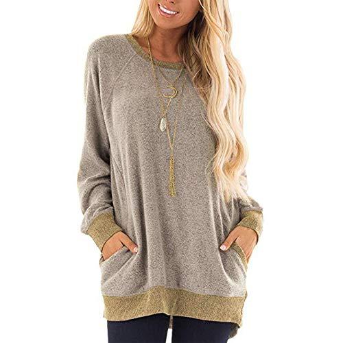 BlaCOG Sudaderas informales de cuello redondo para mujer, de gran tamaño, de manga larga, con bolsillos, túnica Tops S-2XL - beige - Medium