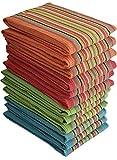 Simpli-Magic 79335 Kitchen Towels, Dish Towels, 16x27 Inches, Salsa Stripe, 8 Pack, Multi