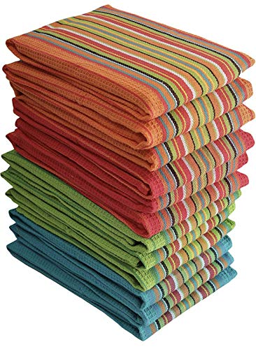 Simpli-Magic 79335 Kitchen Dish Towels, 16x27 Inches, Salsa Stripe, 8 Pack, Multi