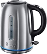 Russell Hobbs 20460 Quiet Boil Kettle, Brushed Stainless Steel, Silver, 3000 W, 1.7 Litre [International version]
