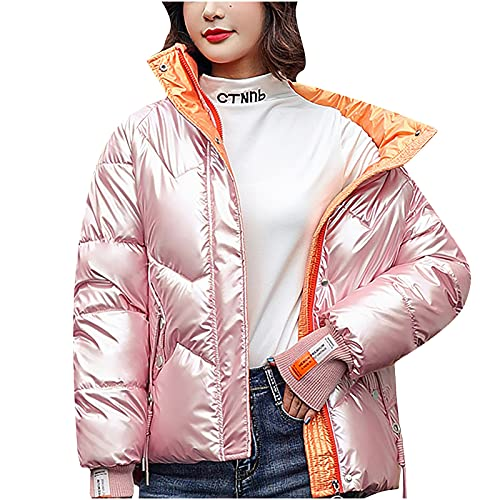 LUGOGNE Warm Winter Coats for Women Plus Size Cotton Jackets Fashion Stand Collar Long Sleeve Solid Color Loose Coat Pink