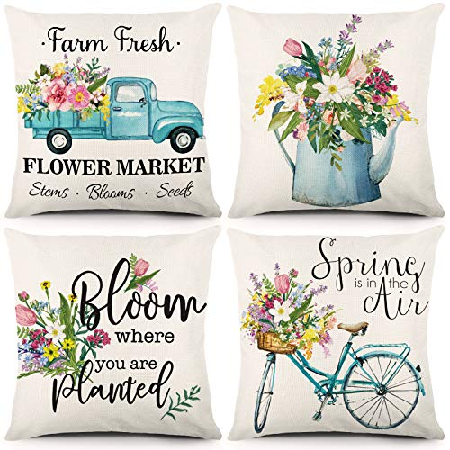 JOCACTI Spring Pillow Covers 18 x 18 Inch Set of 4 Spring Decor Farmhouse Throw Pillowcase Fresh Flower Blue Bicycle and Truck Linen Cushion Case Home Decor for Sofa Bed