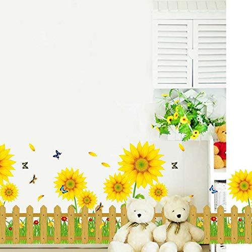 FLAIGO Wandaufkleber mit Sonnenblumen-Motiv, Dekoration für Kinderzimmer, DIY, Kunst, Wohnzimmer, Schranktür, Küche, Kinder, Mädchen, Schlafzimmer