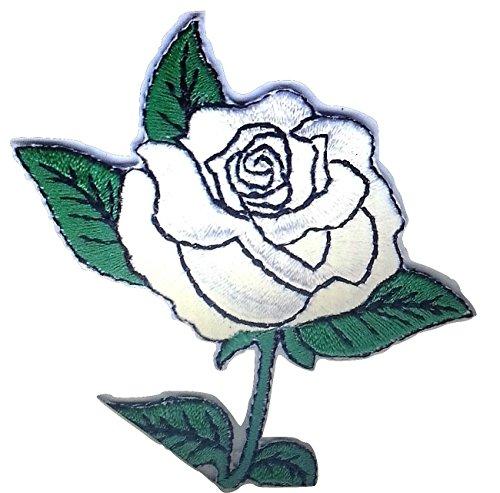b2see Aufnäher Bügelbild Aufbügler Iron on Patches Applikation Rose Blumen  8 x 6 cm Rose Silber
