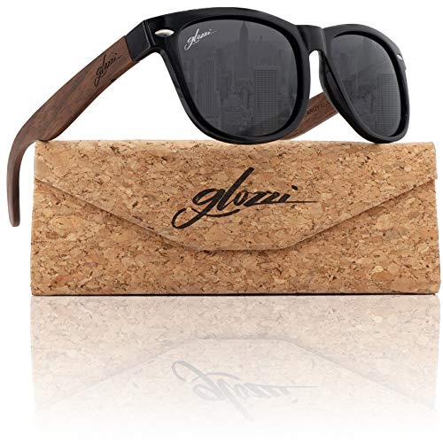 glozzi Walnuss Holz Sonnenbrille Herren und Damen Polarisiert UV400 mit Holzbügeln und Brillenetui aus Kork