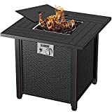BLUBERY 30'' Propane Fire Pit Table, 50,000BTU Auto-Ignition with Pulse Switch Gas Fire Pit Table with Cover, Safety Switch, Solid Striped Steel Surface, Laval Rock, Waterproof Table Bag, ETL CERT