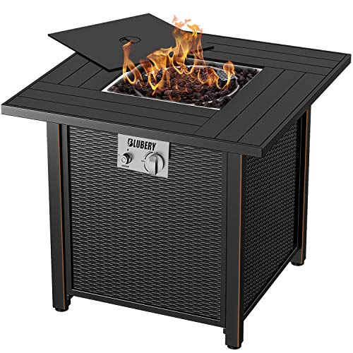 BLUBERY Propane Fire Pit, 30''Outdoor Fire Pit Table,50,000 BTU Auto-Ignition ,Elegant Steel Grain Surface,Heating in Winter, Table in Summer,ETL Compliant