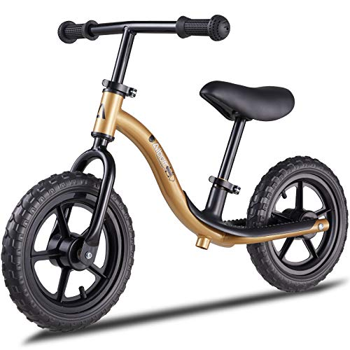 Albott Balance Bike - Toddler Training Bike for 18 Months, 2, 3, 4 and 5 Year Old Kids - 12' Toddler Push Bike No Pedal Bicycle with Footrest for Baby Children (Matte Gold)