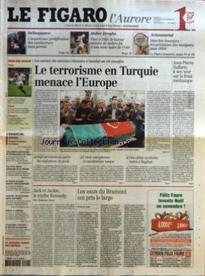 FIGARO (LE) [No 18442] du 22/11/2003 - DELINQUANCE - L'INQUIETANTE PROLIFERATION DES CONDUCTEURS SANS PERMIS - DIDIER DROGBA - FACE A LILLE, LE BUTEUR TENTERA DE METTRE FIN A UNE SERIE NOIRE DE L'OM - ACTIONNARIAT - MARCHES BOURSIERS - LES PREVISIONS DES ANALYSTES POUR 2004 RUGBY - L'ANGLETERRE DE WILKINSON DEFIE L'AUSTRALIE EN FINALE DE LA COUPE DU MONDE - TENNIS - LA FRANCE FAVORITE DE LA FINALE DE LA FED CUP FACE A UNE EQUIPE DES ETATS-UNIS TRES AMOINDRIE - FORMULE 1 - LE CIRCUIT DE MAGNY-C