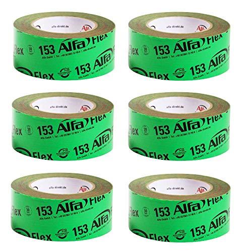 6x Flex Folienklebeband 50 mm x 25 m für Dampfbremsen, aggressiv klebendes Dampfsperrklebeband entspricht Anforderungen ZVDH & EnEV