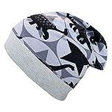 Wollhuhn ÖKO Jungen Beanie-Mütze Coole Dinos grau (aus Öko-Stoffen, Bio) 20198888 (L: KU ab 54 (darüber/Erwachsene))