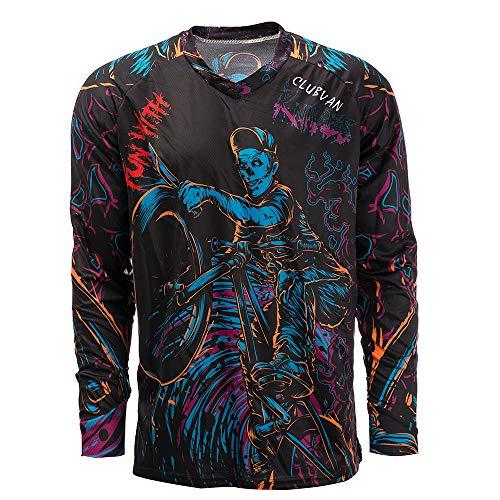 Herren Radtrikot Mountainbike Motocross Jersey Lang MTB T-Shirt Fahrradbekleidung Gr. XL, CD9510