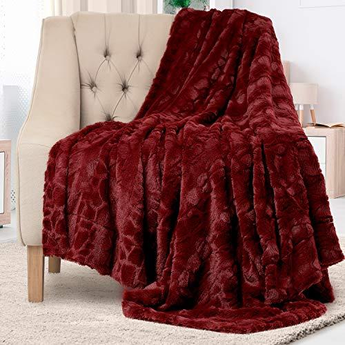 Everlasting Comfort Luxury Faux Fur Throw Blanket - Soft, Fluffy, Warm, Cozy, Plush (Dark Red)