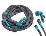 DEKO VERTRIEB BAYERN Flexibler Magic Gartenschlauch 23m Premium Flexi Wasserschlauch flexibel Flexischlauch Modell Premium 2021 dehnbar 1/2' und 3/4' grau