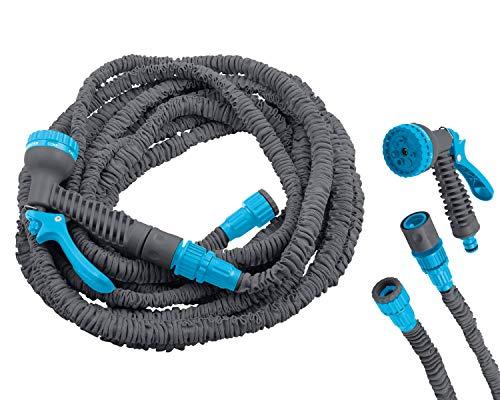 """DEKO VERTRIEB BAYERN Flexibler Magic Gartenschlauch 23m Premium Flexi Wasserschlauch flexibel Flexischlauch Modell Premium 2021 dehnbar 1/2\"""" und 3/4\"""" grau"""