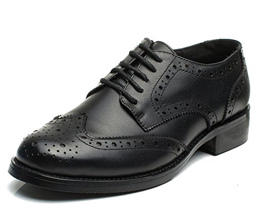 U-lite Womens Black Perforated Lace-up Wingtip Leather Flat Oxfords Vintage Oxford Shoe BLK 7.5