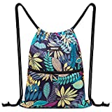 Drawstring Backpack String Bag Sackpack Cinch Water Resistant Nylon for Gym Shopping Sport Yoga by WANDF (B-Blue Leaf)