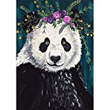 Kit completo de pintura de diamantes 5D Bricolaje diamond painting kits Rhinestone bordado cuadros de punto de cruz arte manualidades para decoración del Salon hogar Regalo Panda Round 40x60cm