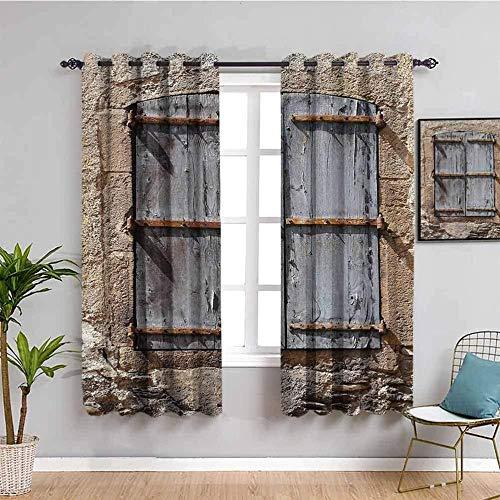 Azbza Wohnzimmer Vorhang Blickdicht - Steinmauer Retro Nische Fenster - 90% Sichtschutz Vorhang Haus Büro Fenster - B120 x H140 cm - Modern Klassisch Wohnzimmer Schlafzimmer Lounge Dekoration