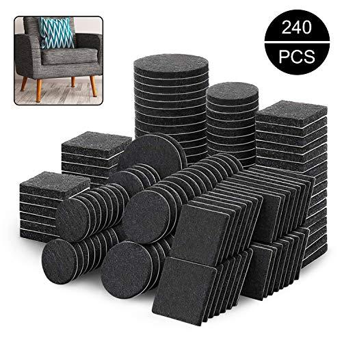 Sinwind Filzgleiter, Filzgleiter Set selbstklebend, Filzgleiter Selbstklebend Set 240 Stück- Effektiver Schutz Ihrer Möbel & Stühle, 5mm dicker Filz selbstklebend für erhöhte Haltbarkeit