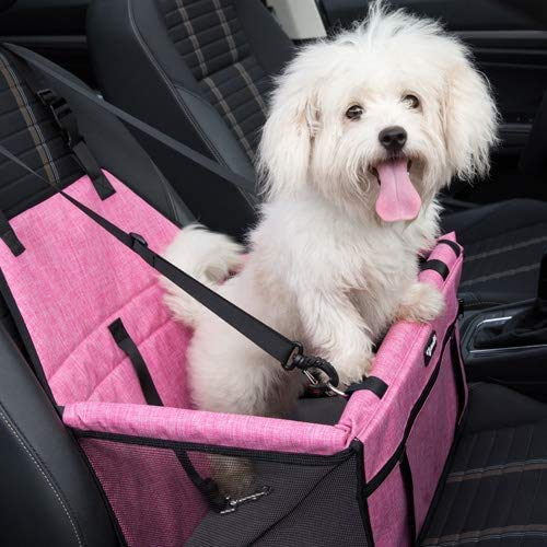 Zjwxj Asiento de Coche para Perros Pequeños,Asiento Elevador de Coche Portátil para Mascotas Mejorado con Correa de Seguridad con Clip y Tubo de Soporte de PVC,Anti-colapso, Mascotas pequeñas