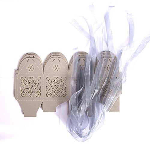 Boîtes à dragées creux ciselée de cœur d'amour de mariage/fête gris argenté