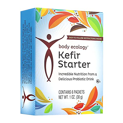 Body Ecology Kefir Starter | Nutritious Probiotic Drink | Supports Optimal Digestive Health | Non-GMO, Gluten-Free, Vegetarian | 6 Packets