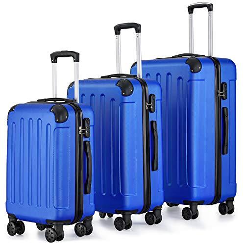 Juskys Hartschalen-Koffer Set Yara 3-teilig – 3 Trolley mit Schloss, Griff und 360° Rollen – blau - Reisekoffer Hartschale leicht